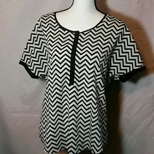 Milano high low chevron striped shirt Medium